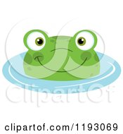 Cartoon Of A Happy Frog Wading In Blue Water Royalty Free Vector Clipart by Hit Toon
