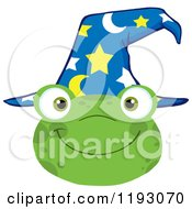 Cartoon Of A Happy Wizard Frog Face With A Hat Royalty Free Vector Clipart by Hit Toon