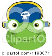 Cartoon Of A Smiling Happy Frog Face With A Pirate Hat Royalty Free Vector Clipart by Hit Toon