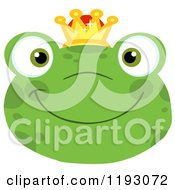Cartoon Of A Smiling Happy Frog Face With A Crown Royalty Free Vector Clipart by Hit Toon