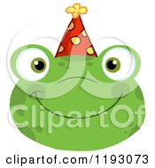 Cartoon Of A Smiling Happy Frog Face With A Party Hat Royalty Free Vector Clipart