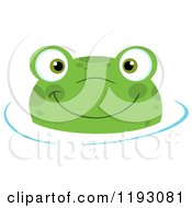 Cartoon Of A Happy Frog Wading In Water Royalty Free Vector Clipart