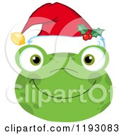 Cartoon Of A Smiling Happy Christmas Frog Face With A Santa Hat Royalty Free Vector Clipart