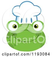 Cartoon Of A Smiling Happy Frog Face With A Chef Hat Royalty Free Vector Clipart