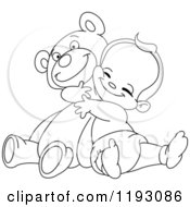 Cartoon Of An Outlined Happy Baby Boy Hugging A Teddy Bear Royalty Free Vector Clipart by yayayoyo