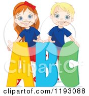 Cartoon Of Happy School Boy And Girl With ABC Alphabet Letters Royalty Free Vector Clipart