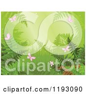 Clipart Of A Rainforest Scene With Ferns And Pink Butterflies Royalty Free Vector Illustration