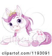 Cartoon Of A Cute Resting Purple Princess Pony Wearing A Crown Royalty Free Vector Clipart