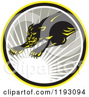 Clipart Of A Leaping Panther In A Gray Circle With A Sun Burst Royalty Free Vector Illustration by patrimonio