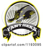 Clipart Of A Leaping Big In A Gray Circle With A Sun Burst And Panthers Banner Royalty Free Vector Illustration by patrimonio
