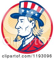 Clipart Of A Retro Uncle Sam With A Patriotic Top Hat In A Circle Of Rays Royalty Free Vector Illustration
