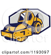 Clipart Of A Retro Road Roller Tractor Emerging From An Octagon Royalty Free Vector Illustration