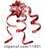 Red Gift Bow And Curly Ribbons On A Present Clipart Illustration by AtStockIllustration