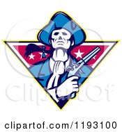 Retro Minuteman Patriot With A Flintlock Pistol Over A Star Triangle