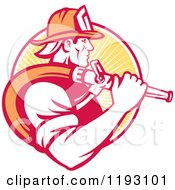 Clipart Of A Retro Fireman In Profile Carrying A Hose Over His Shoulder Against A Yellow Ray Circle Royalty Free Vector Illustration by patrimonio