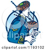 Clipart Of A Retro Scotsman Playing Bagpipes Over A Blue Circle Royalty Free Vector Illustration
