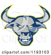 Clipart Of A Blue Gray And Yellow Texas Longhorn Bull Head Royalty Free Vector Illustration