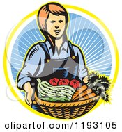 Clipart Of A Woodcut Female Farmer With A Basket Full Of Organic Produce Over A Ray Circle Royalty Free Vector Illustration