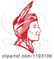 Clipart Of A Retro Profiled Native American Indian Woman Woodcut In Red Royalty Free Vector Illustration