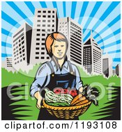 Clipart Of A Woodcut Female Farmer With A Basket Full Of Organic Produce Near A City Royalty Free Vector Illustration