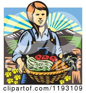 Clipart Of A Woodcut Female Farmer With A Basket Full Of Organic Produce Royalty Free Vector Illustration
