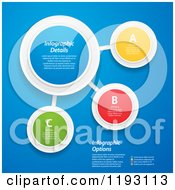 Clipart Of Colorful Infographic Networked Circles With Sample Text Over Blue Vector File And Experience Recommended Royalty Free Vector Illustration