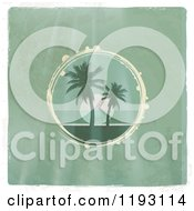 Circular Scene Of A Tropical Ocean Sunset With Palm Trees On Distressed Green Wood With A White Border