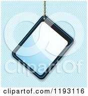 Clipart Of A Reflective Glossy Blue Tag Hanging From A Chain Over A Blue Grid Royalty Free Vector Illustration