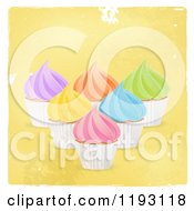 Colorfully Frosted Cupcakes Over Distressed Yellow With A White Border