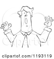 Cartoon Of An Outlined Businessman Holding His Arms Up Royalty Free Vector Clipart