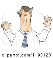 Cartoon Of A Caucasian Businessman Holding His Arms Up Royalty Free Vector Clipart