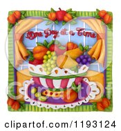 3d One Day At A Time Fruit Bowl Scene With A White Border
