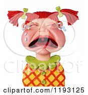 Clipart Of A 3d Wailing Red Haired Girl With Pig Tails Royalty Free CGI Illustration