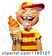 Clipart Of A 3d Laughing Boy With Missing Teeth Holding An Orange Ice Cream Cone Royalty Free CGI Illustration by Amy Vangsgard