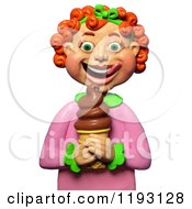 Poster, Art Print Of 3d Red Haired Girl Licking Her Lips And Looking At A Chocolate Ice Cream Cone