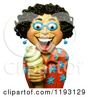 Clipart Of A 3d Estatic Woman Holding A Vanilla Ice Cream Cone Royalty Free CGI Illustration