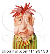 Clipart Of A 3d Tired Man With A Droopy Face Royalty Free CGI Illustration