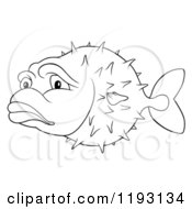Cartoon Of An Outlined Sad Puffer Fish Royalty Free Vector Clipart