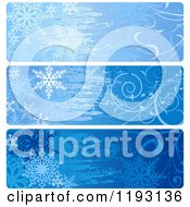 Clipart Of Grungy Blue Snowflake And Vine Christmas Website Banners Royalty Free Vector Illustration