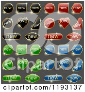 Sparkly Black Red Green And Blue Labels With Gold Text And Frames On Gray