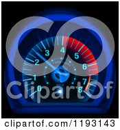 Clipart Of A Glowing Blue And Red Speedometer Royalty Free Vector Illustration by dero