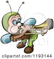Cartoon Of A Musical Bug Playing A Trombone Royalty Free Vector Clipart