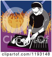 Clipart Of A Dj Mixing A Record And Silhouetted Dancers Royalty Free Vector Illustration