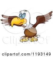 Cartoon Of A Bald Eagle Stretching His Wings Royalty Free Vector Clipart by dero