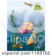 Clipart Of Aquatic Plants And Fish Underwater Royalty Free Illustration