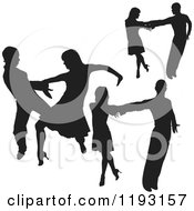 Clipart Of Black Silhouetted Latin Dancers Royalty Free Vector Illustration