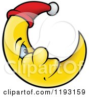 Cartoon Of A Smiling Crescent Moon With A Night Cap Royalty Free Vector Clipart