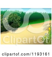 Clipart Of A Nature Path With Plants Royalty Free Vector Illustration by dero