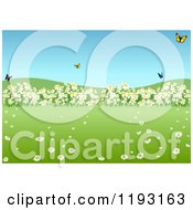 Clipart Of A Spring Meadow With Butterflies And Wild Flowers Royalty Free Vector Illustration