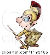 Cartoon Of A Happy Roman Soldier Looking To The Side Royalty Free Vector Clipart